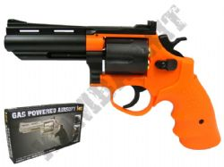 HG132 Gas Powered Revolver Airsoft BB Gun Black and Orange